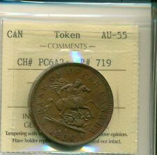 ICCS Province of Canada 1850 Token One Penny AU-55 CH# PC6A2; BR# 719 XNB 713
