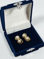 Vintage Statement Earrings Gold Tone With Faux Pearl Pretty Costume Jewellery