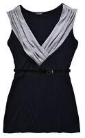 Ladies Top New Womens V Neck Sleeveless T Shirt Tops Black Grey Sizes UK S M L