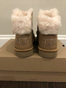 New UGG Women's Size 6 Classic Bling Mini Boot  CHE Chestnut Crystals