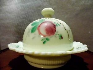 Antique Jefferson Custard Glass Ribbed Drape c.1900 Butter Dish Vaseline Rare