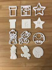 Super Mario set 002 Cutters Plastic Cutter Topper Fondant cupcake topper cake uk