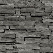 LUSSO Esclusivo nuova gamma GLAMOUR Carta da parati effetto muro di pietra grigia AL1015