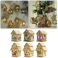 Wooden Lighted Cabin House Hanging Pendant Ornaments Xmas Tree Decor