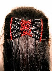 Womens Easy Magic Beads Double Hair Grip EZ Comb Clip Stretchy Black-Red D
