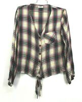 4Our Dreamers Womens Tie Front Plaid Shirt Long Sleeve Button Front Hi Low Hem M