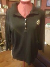 Lauren Ralph Lauren black 100% cotton top with embossed gold emblem