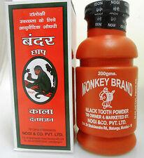 Monkey Brand 200g NATURAL Black Tooth Powder FOR GUMS PAIN Whitenining USA Seler