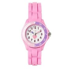 Tikkers Kids Time Teacher Pink Rubber Silicone Strap Watch TK0003 Heart Design