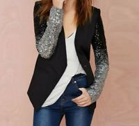 Women Ladies Jacket Coat Suit Long Sleeve Sequin Elegant Blazer Spring Autumn
