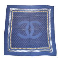 Authentic CHANEL CC Logos XL Scarf Muffler 100% Silk Blue Accessory 66ES923