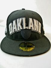 New Era Oakland Raiders Fitted Baseball Cap black logo 7 3/8 inches 59fifty