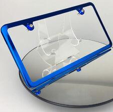 Candy Blue License Plate Slim 2 Holes Frame w/ Aluminum Circle Type Screw Caps