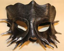Obsidiana Serpiente Dragon Máscara Veneciana Mascarada hecha a mano de cuero negro/plata