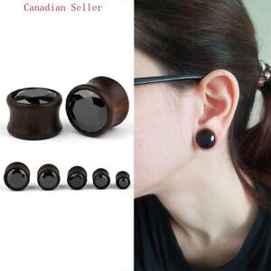 Pair Natural wood CZ ear expanders Tunnels Ear Stretcher Plugs Gauge  piercing