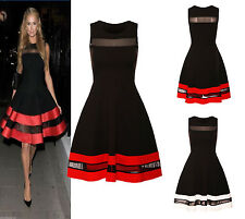 Celebrity Paris Hilton Inspired Red Black Mesh Insert Contrast Skater Dress