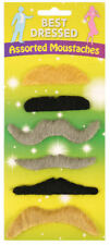 6 Assorted Coloured Moustaches - Fancy Dress Costume Stick On Self Adhesive