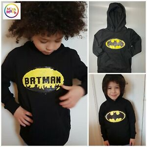 NEW boys kids NEXT Batman Black Jumper Hoodie hoody Reversible Sequins 2 - 14 y
