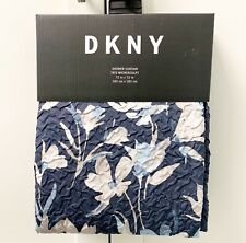 DKNY Fabric Shower Curtain 72x72 Dark Blue & Light Blue Taupe Floral Microsculpt