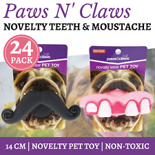 2 x Teeth Mustache Durable Dog Chew Toys Tough Rubber Pet Puppy Funny Play