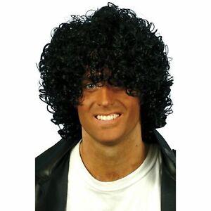 BNIB 80s 1980s Black Curly Afro Wet Look Wig Mens Adults Fancy Dress Accessory