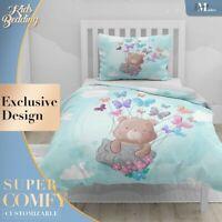 Flying Teddy Bear Art Watercolor Blue Duvet Cover Set Zipper Pillow Cover