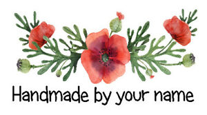 Personalised Mini Stickers labels x 260- Handmade by -  Watercolour Red Poppy 1