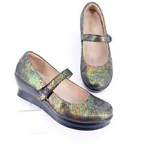 Alegria Flair Thrones 8.5 Mary Jane Wedge Comfort Pump Shoe Iridescent Leather