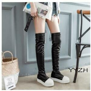 Women's Pleated High Over the Knee Thigh Punk Shoes Wedge Platform Pull on Boots