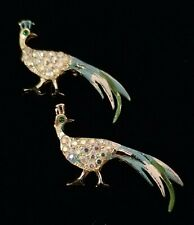 Vintage PEACOCK Birds Rhinestones & Enamels Scatter Brooch🎄Great Christmas Idea