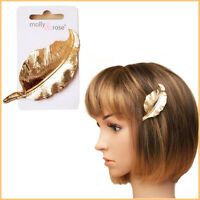 Hair Barrette Side Pin Clip GOLD Bun Leaf Grip Women Clamp Metal Hairpin Styling