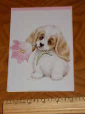 """Unused Get-Well Greeting Card Ruth Morehead  """"Puppy with Pink Flower"""""""