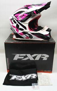 FXR Racing Fuchsia/White/Black Blade Throttle Helmet -  SIZE SMALL