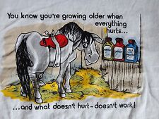 Vintage 50-50 Screen Stars Best HORSE OLD AGE HURTS OR DOESN'T WORK T-Shirt sz L
