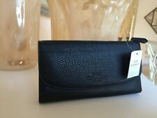 Coach F52715 Pebbled Leather Checkbook Wallet in Black