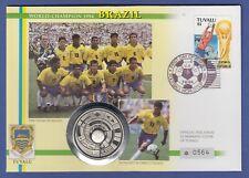Fußball-WM USA 1994, Team Brasilien Numisbrief mit Silbermünze Tuvalu 20$