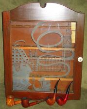 Vtg. Tobacco Smoking PIPE Collection Display Cabinet Etched Glass Wood 4 pipes