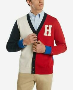 Tommy Hilfiger Mens Colorblock Varsity Cotton Sweater Cardigan Size XL Red Blue