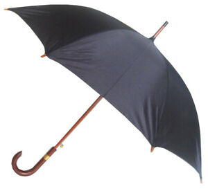 Stick umbrella, Automatic open umbrella, Wooden handle umbrella, Black umbrella
