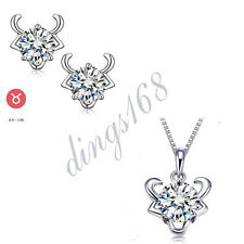 3pc 925 Sterling Silver Taurus Zodiac Sign Crystal Pendant + Earrings Set S131