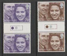 GREAT BRITAIN 1973 ROYAL WEDDING TRAFFIC LIGHT GUTTER PAIRS SG 941-2 MNH.