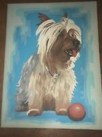 Vintage Paint By Numbers Painting- 'Yorkie' 9x11 Yorkshire Terrier Dog PBN rare
