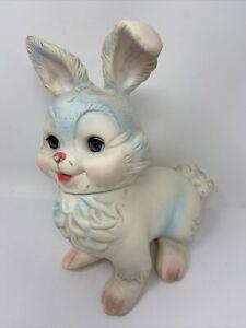 1961 Mobley Bunny Rabbit Sleepy Eye Squeaker Missing so doesn't Squeak Baby Toy