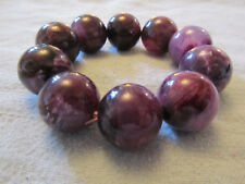 Purple & White Plastic Bead Elasticated Bracelet