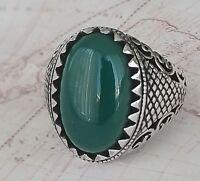925 Sterling Silber Männer Ring Grün Achat Edelstein Handgefertigt Türkei Stil