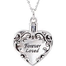 Memorial Cremation Ash Holder Sterling Silver FOREVER LOVEDHeart Necklace