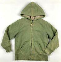 L.L.Bean Boys Hoodie 6 7 Sage Green Fleece Lined Zipped Long Sleeve Jacket