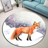 Winter Snow Fox Round Area Rug Home Living Room Bedroom Floor Carpet Yoga Mat