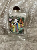 Vintage Perfume Bottle Chinese Snuff Bottle Cut Glass Reverse Painted Art Deco