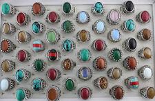 34pcs Wholesale Mixed Lots Jewelry Fashion Natural Stone Men's Rings AH1177